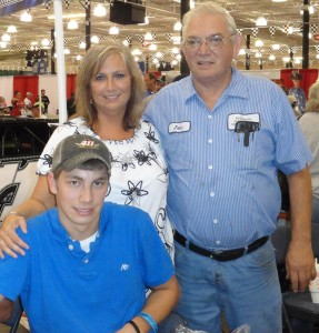 Adam Engel with mother Cindy Engel and grandfather John Buckner.