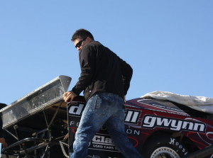 NASCAR Camping World Truck Series driver Joey Coulter unloading his crate LM.