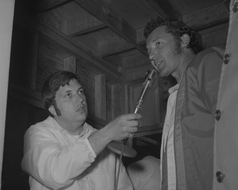 Bobby Denton (left) interviews Richard Petty at Smoky Mountain Raceway in 1971.