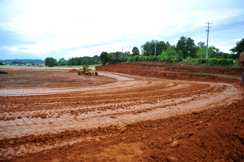 Early construction of I-40 Raceway in August 2013