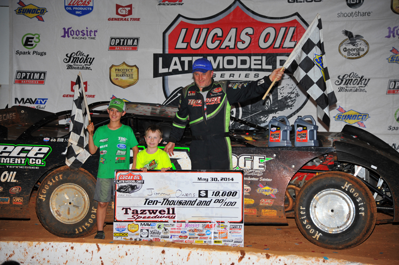 Jimmy Owens, seen here after his recent win in Tazewell, also celebrated in Victory Lane in Wheatland, MO.