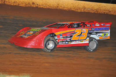Cory Hedgecock on his way to another Late Model feature win at Smoky Mountain.