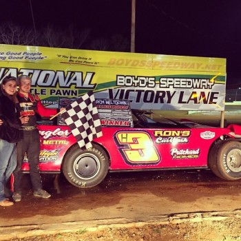 Ethan Hunter celebrated in Victory Lane after the Crate Late Model feature(photo from his Facebook page)