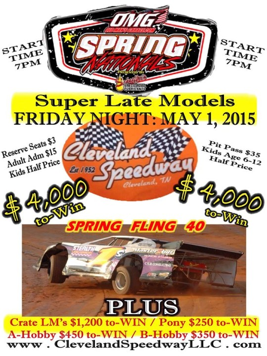 Pre-race Notes: Spring Nationals at Cleveland Speedway(5-1-15)