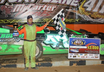 Tyler Crowder in victory lane at 411